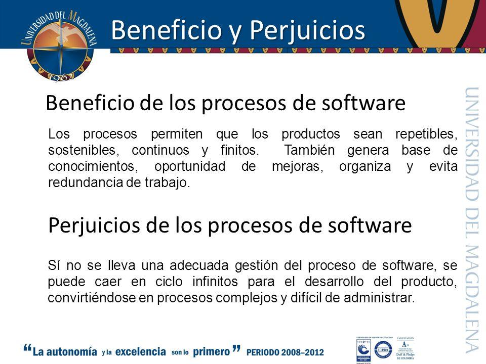 Beneficio y Perjuicios Los procesos permiten que los productos sean repetibles, sostenibles, continuos y finitos. También genera base de conocimientos