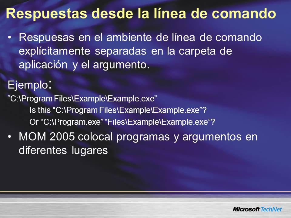 Respuestas desde la línea de comando Respuesas en el ambiente de línea de comando explícitamente separadas en la carpeta de aplicación y el argumento.