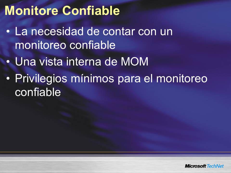 Monitore Confiable La necesidad de contar con un monitoreo confiable Una vista interna de MOM Privilegios mínimos para el monitoreo confiable