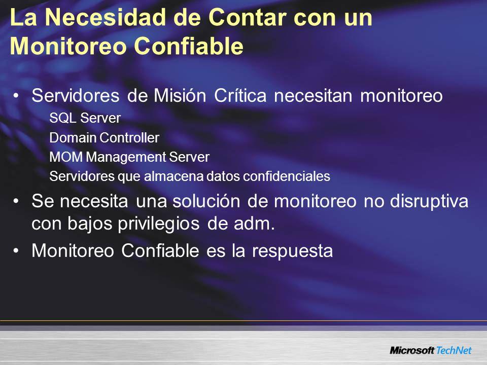 La Necesidad de Contar con un Monitoreo Confiable Servidores de Misión Crítica necesitan monitoreo SQL Server Domain Controller MOM Management Server Servidores que almacena datos confidenciales Se necesita una solución de monitoreo no disruptiva con bajos privilegios de adm.