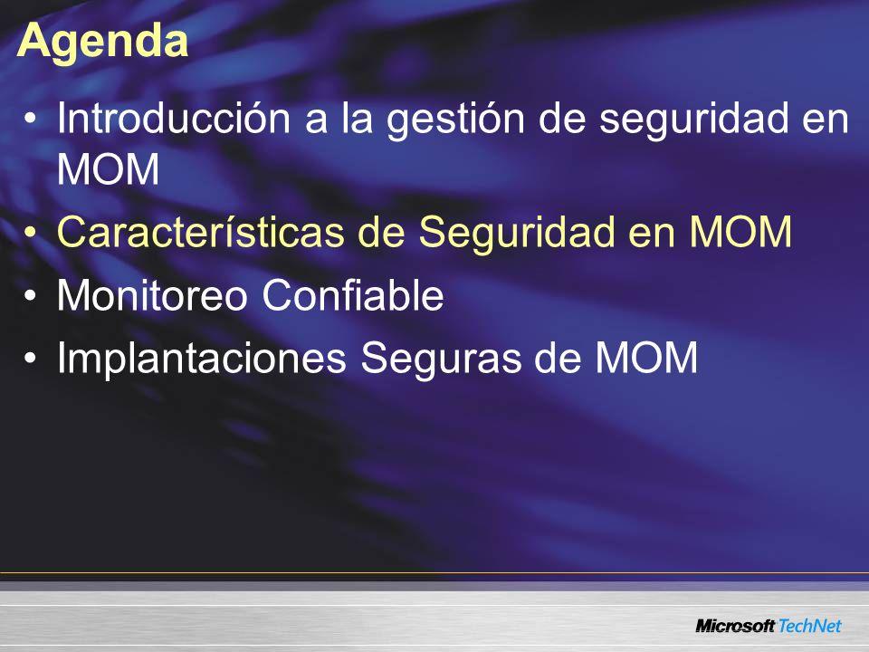 Agenda Introducción a la gestión de seguridad en MOM Características de Seguridad en MOM Monitoreo Confiable Implantaciones Seguras de MOM