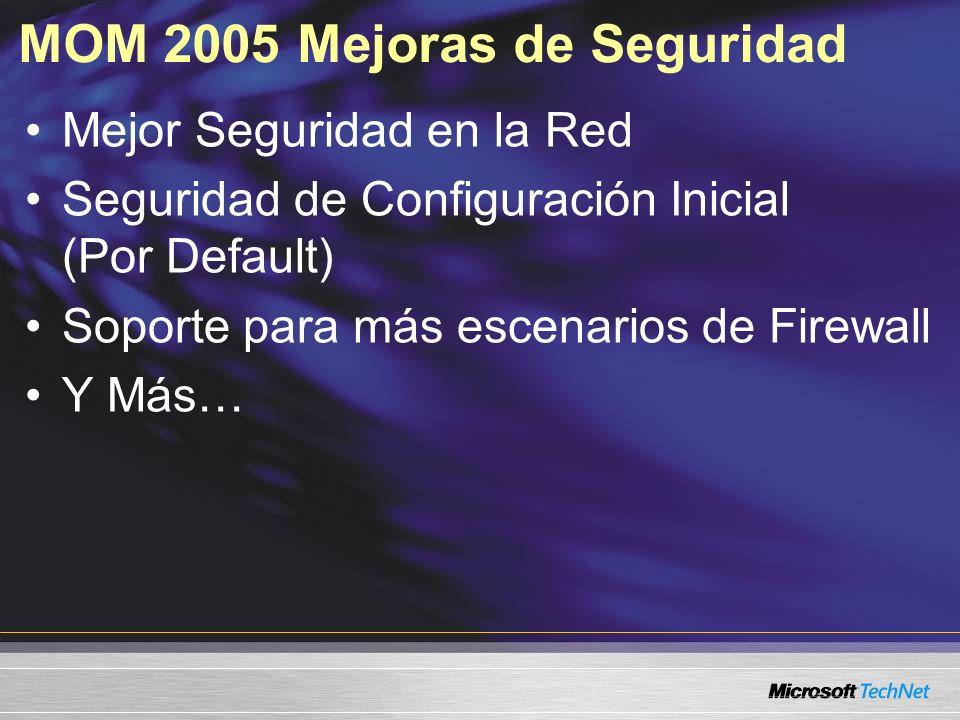 MOM 2005 Mejoras de Seguridad Mejor Seguridad en la Red Seguridad de Configuración Inicial (Por Default) Soporte para más escenarios de Firewall Y Más…