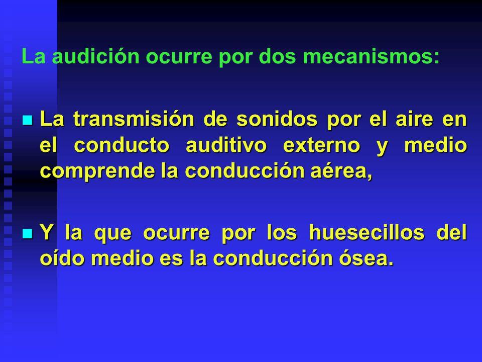 En personas con audición normal, la conducción aérea es más eficaz; sin embargo, los defectos de la membrana timpánica o la interrupción de la cadena osicular alteran la conducción normal del aire y causan pérdida de la proporción sonido- presión y, por tanto, pérdida de la audición.