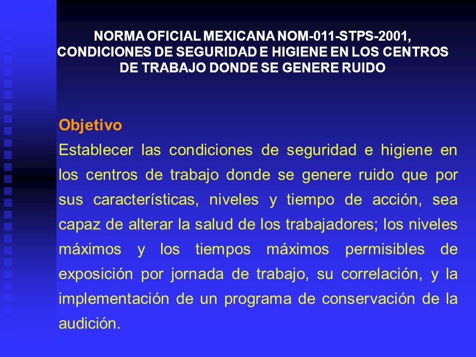 Campo de aplicación Esta Norma rige en todo el territorio nacional y aplica en todos los centros de trabajo en los que exista exposición del trabajador a ruido.