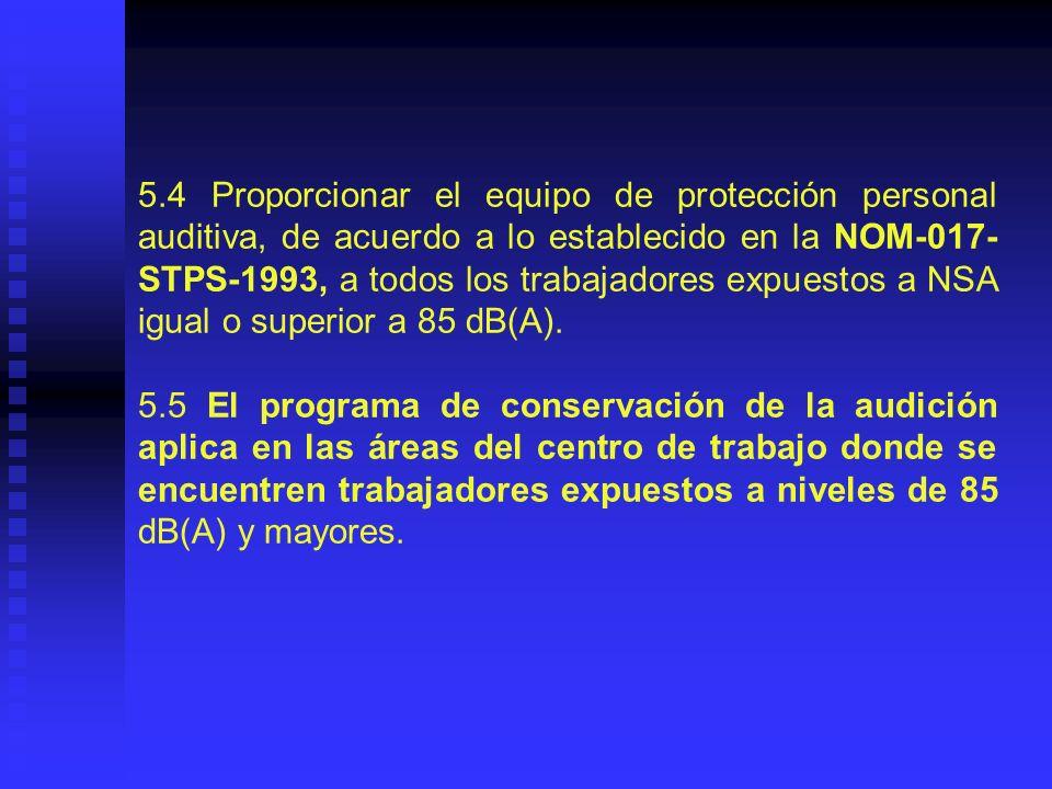 5.6 Implantar, conservar y mantener actualizado el programa de conservación de la audición, necesario para el control y prevención de las alteraciones de la salud de los trabajadores, según lo establecido en el Capítulo 8.