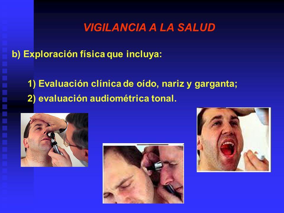 VIGILANCIA A LA SALUD I.3 Las evaluaciones audiométricas deben ejecutarse según el programa siguiente: a) Establecer un audiograma inicial de referencia, para cada trabajador que sea asignado a un lugar de trabajo donde se exceda el NER de 85 dB(A), el cual debe ser precedido por un periodo de al menos 14 horas sin exposición a ruido en el centro de trabajo y que no presente afección de vías respiratorias superiores;