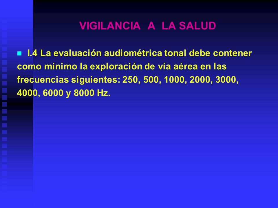 VIGILANCIA A LA SALUD I.6 El ambiente de pruebas audiométricas debe contar con el documento de registro X correspondiente, en el que se registren los niveles de presión acústica referidos en el Apartado.