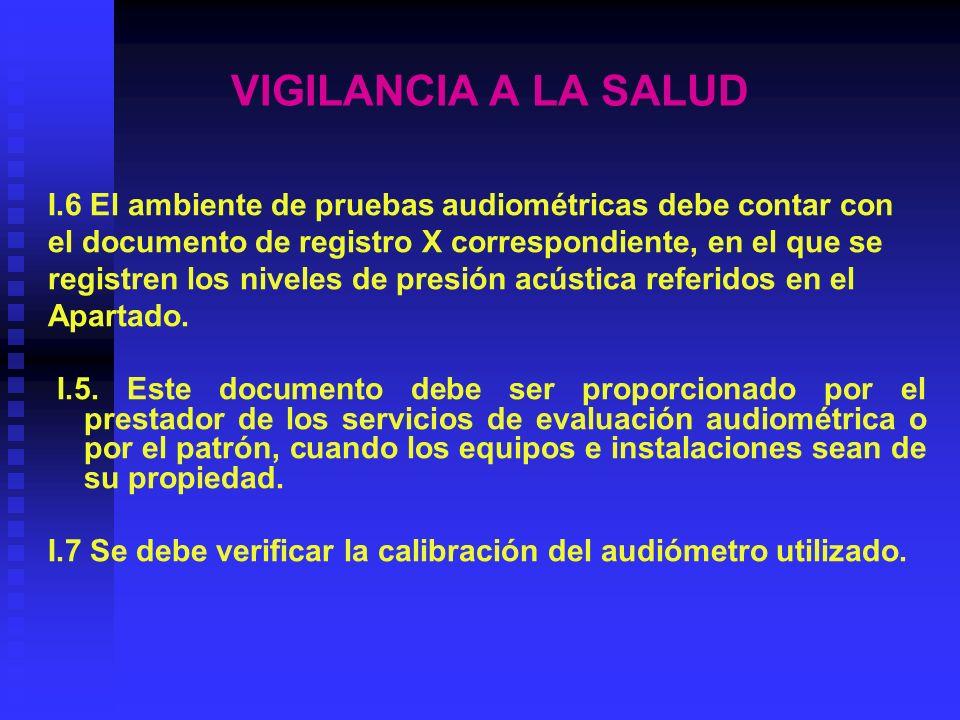 VIGILANCIA A LA SALUD I.8 Se debe verificar la calibración biológica del audiómetro cada vez que se utilice este equipo.