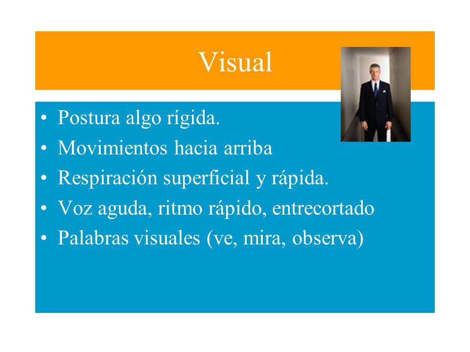 Sistemas de Representación Sensorial Veamos algunos elementos no verbales (lingüisticos) conjuntamente con los sentidos, que nos da cuenta del estado