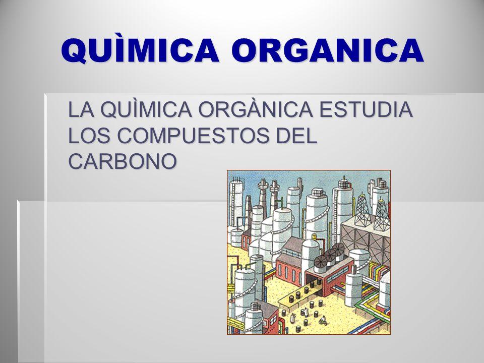 QUÌMICA ORGANICA LA QUÌMICA ORGÀNICA ESTUDIA LOS COMPUESTOS DEL CARBONO