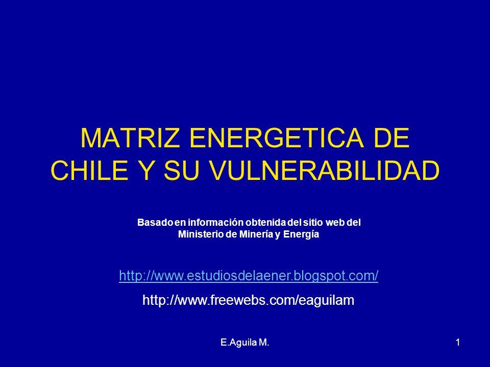 E.Aguila M.1 MATRIZ ENERGETICA DE CHILE Y SU VULNERABILIDAD Basado en información obtenida del sitio web del Ministerio de Minería y Energía http://ww