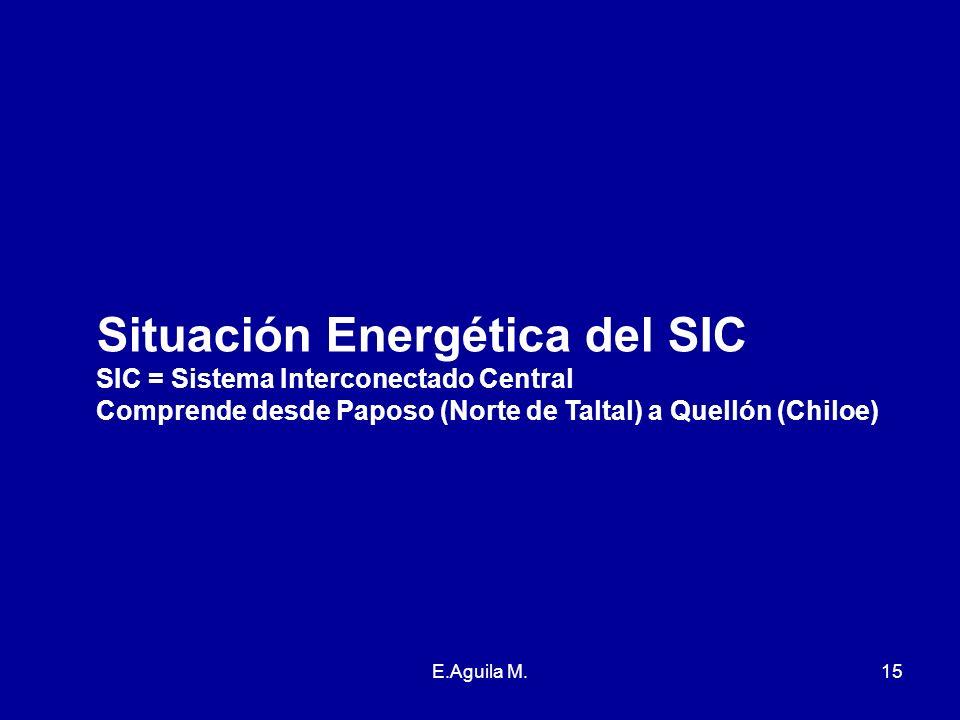 E.Aguila M.15 Situación Energética del SIC SIC = Sistema Interconectado Central Comprende desde Paposo (Norte de Taltal) a Quellón (Chiloe)