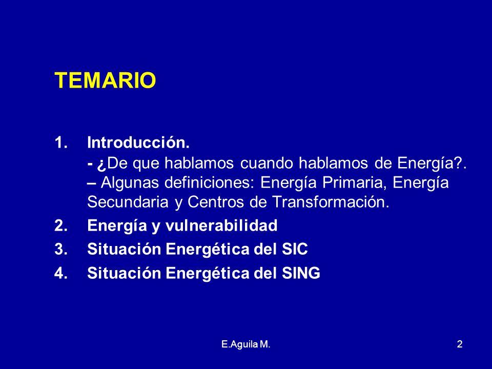 E.Aguila M.2 TEMARIO 1.Introducción. - ¿De que hablamos cuando hablamos de Energía?. – Algunas definiciones: Energía Primaria, Energía Secundaria y Ce