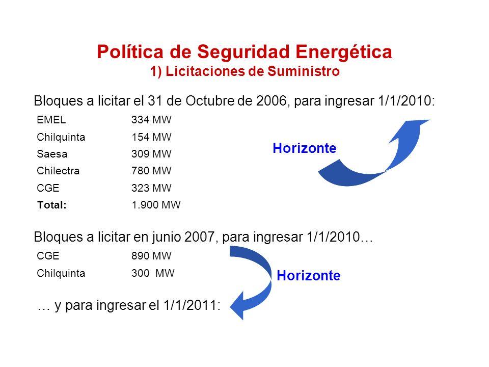E.Aguila M.22 Bloques a licitar el 31 de Octubre de 2006, para ingresar 1/1/2010: EMEL 334 MW Chilquinta 154 MW Saesa 309 MW Chilectra 780 MW CGE 323