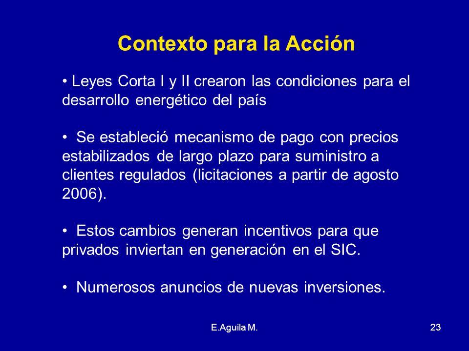 E.Aguila M.23 Contexto para la Acción Leyes Corta I y II crearon las condiciones para el desarrollo energético del país Se estableció mecanismo de pag
