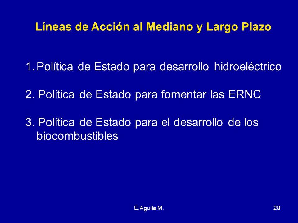 E.Aguila M.28 Líneas de Acción al Mediano y Largo Plazo 1.Política de Estado para desarrollo hidroeléctrico 2. Política de Estado para fomentar las ER