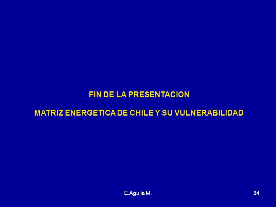 E.Aguila M.34 FIN DE LA PRESENTACION MATRIZ ENERGETICA DE CHILE Y SU VULNERABILIDAD
