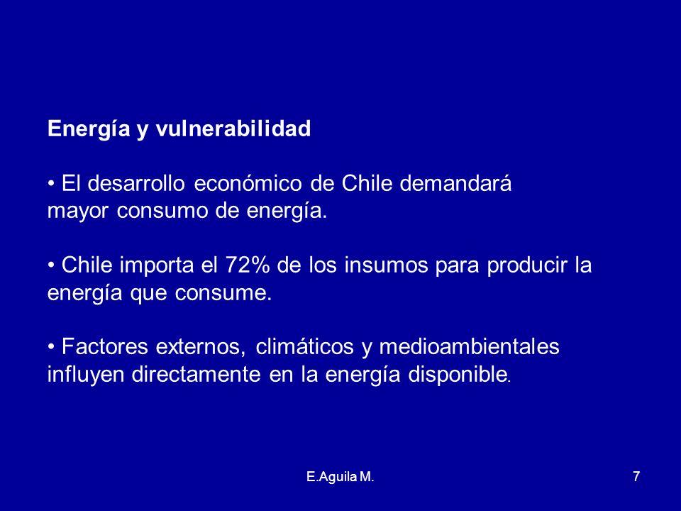 E.Aguila M.7 Energía y vulnerabilidad El desarrollo económico de Chile demandará mayor consumo de energía. Chile importa el 72% de los insumos para pr