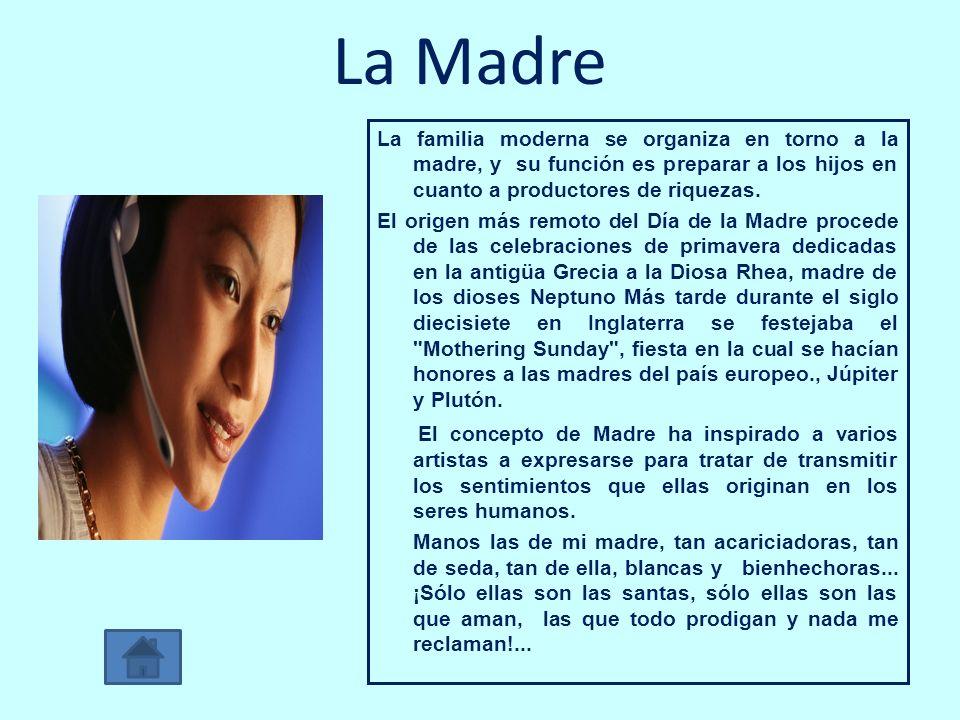 La Madre La familia moderna se organiza en torno a la madre, y su función es preparar a los hijos en cuanto a productores de riquezas. El origen más r