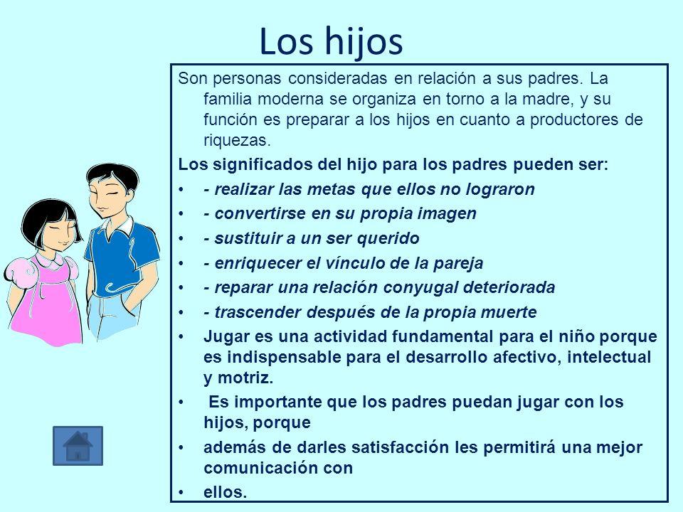 Los hijos Son personas consideradas en relación a sus padres. La familia moderna se organiza en torno a la madre, y su función es preparar a los hijos