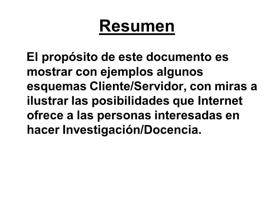 Resumen El propósito de este documento es mostrar con ejemplos algunos esquemas Cliente/Servidor, con miras a ilustrar las posibilidades que Internet