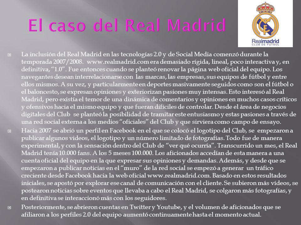 La inclusión del Real Madrid en las tecnologías 2.0 y de Social Media comenzó durante la temporada 2007/2008. www.realmadrid.com era demasiado rígida,