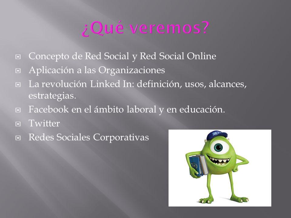 Concepto de Red Social y Red Social Online Aplicación a las Organizaciones La revolución Linked In: definición, usos, alcances, estrategias. Facebook