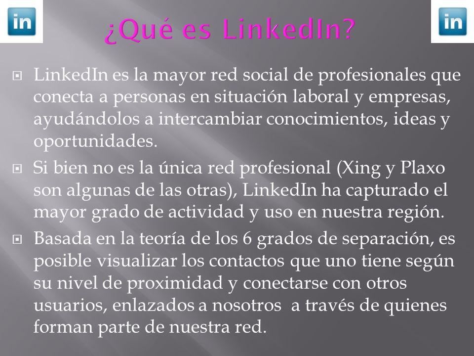 LinkedIn es la mayor red social de profesionales que conecta a personas en situación laboral y empresas, ayudándolos a intercambiar conocimientos, ide