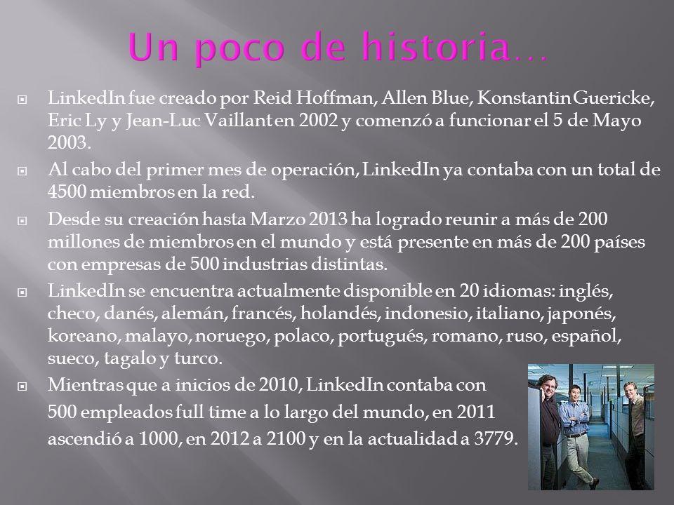 LinkedIn fue creado por Reid Hoffman, Allen Blue, Konstantin Guericke, Eric Ly y Jean-Luc Vaillant en 2002 y comenzó a funcionar el 5 de Mayo 2003. Al