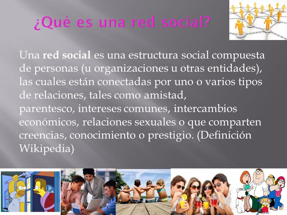 Una red social es una estructura social compuesta de personas (u organizaciones u otras entidades), las cuales están conectadas por uno o varios tipos