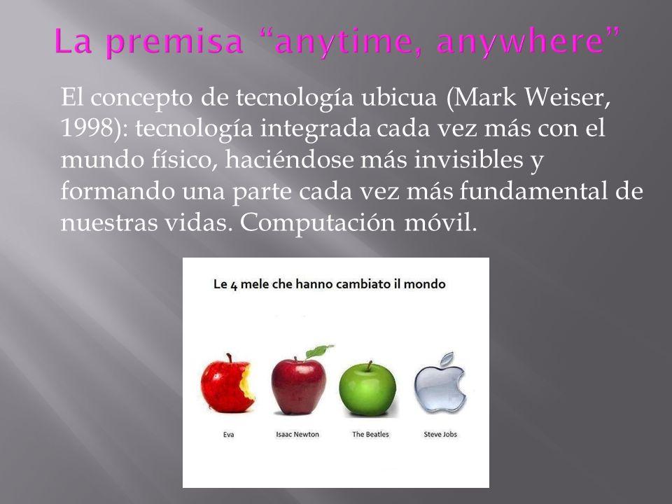 El concepto de tecnología ubicua (Mark Weiser, 1998): tecnología integrada cada vez más con el mundo físico, haciéndose más invisibles y formando una
