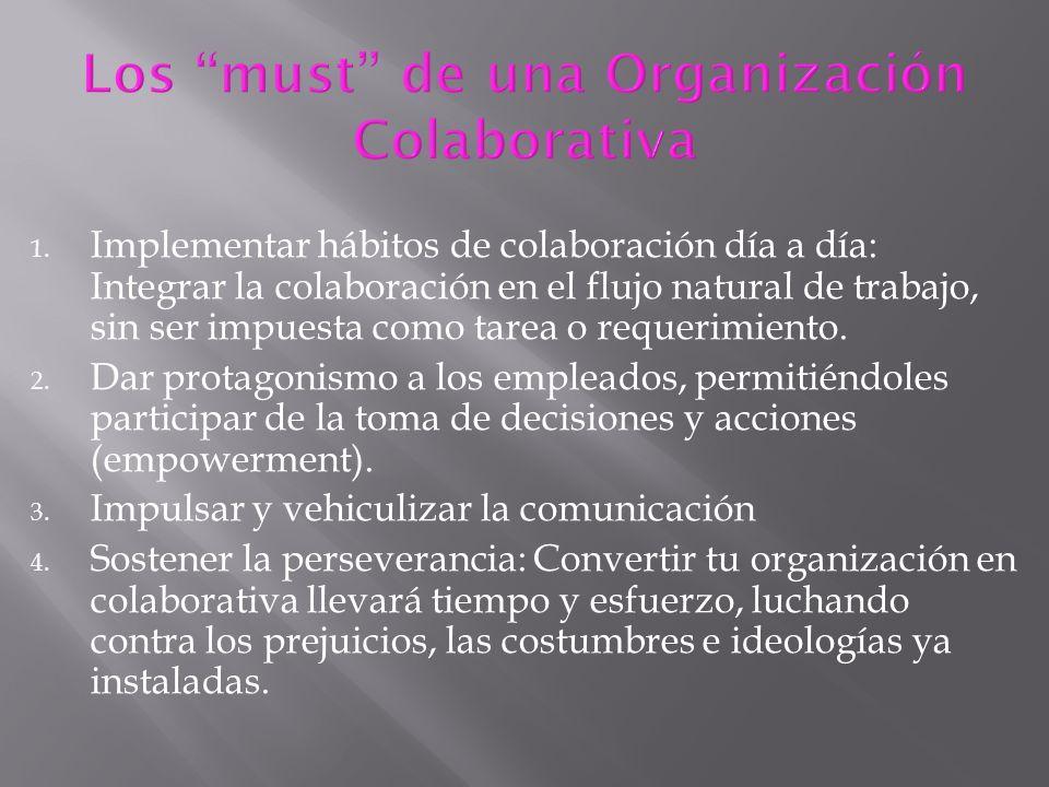 1. Implementar hábitos de colaboración día a día: Integrar la colaboración en el flujo natural de trabajo, sin ser impuesta como tarea o requerimiento