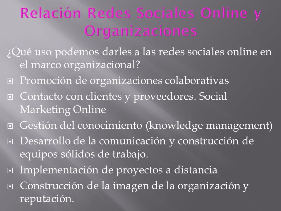 ¿Qué uso podemos darles a las redes sociales online en el marco organizacional? Promoción de organizaciones colaborativas Contacto con clientes y prov