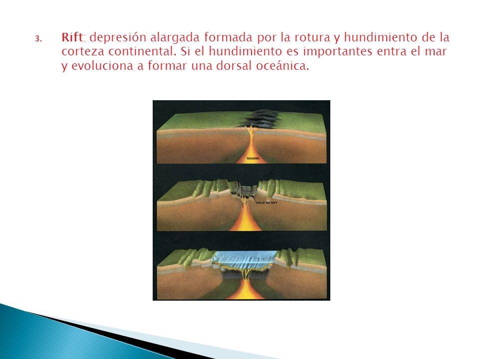 3. Rift: depresión alargada formada por la rotura y hundimiento de la corteza continental. Si el hundimiento es importantes entra el mar y evoluciona