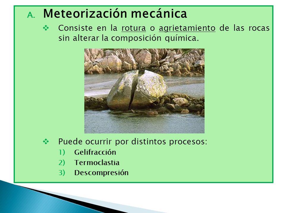 A. Meteorización mecánica Consiste en la rotura o agrietamiento de las rocas sin alterar la composición química. Puede ocurrir por distintos procesos: