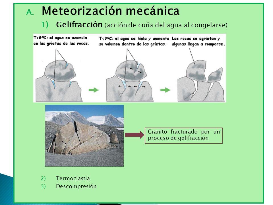 A. Meteorización mecánica 1)Gelifracción (acción de cuña del agua al congelarse) 2)Termoclastia 3)Descompresión Granito fracturado por un proceso de g