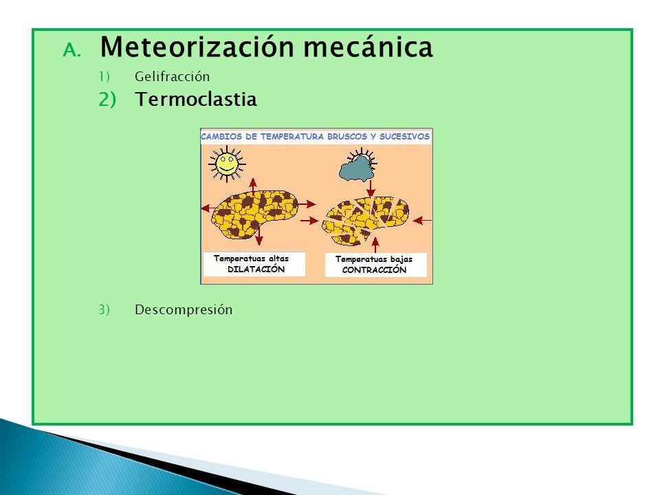 A. Meteorización mecánica 1)Gelifracción 2)Termoclastia 3)Descompresión