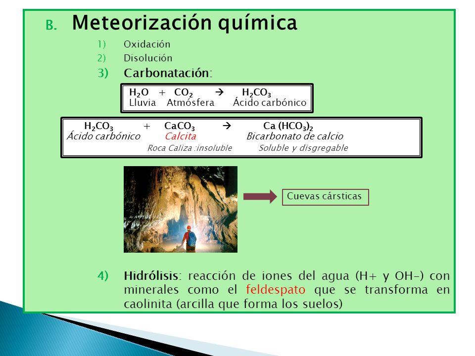 B. Meteorización química 1)Oxidación 2)Disolución 3)Carbonatación: 4)Hidrólisis: reacción de iones del agua (H+ y OH-) con minerales como el feldespat