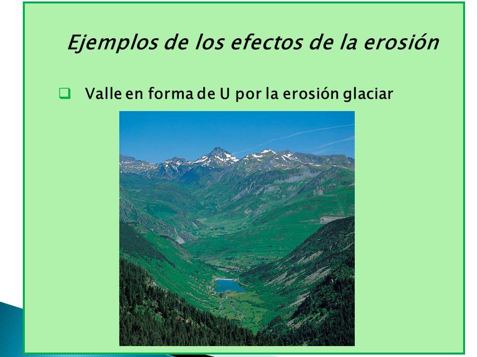 Ejemplos de los efectos de la erosión Valle en forma de U por la erosión glaciar