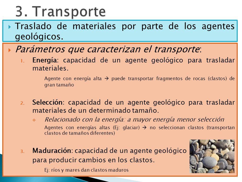 Traslado de materiales por parte de los agentes geológicos. Parámetros que caracterizan el transporte: 1. Energía: capacidad de un agente geológico pa