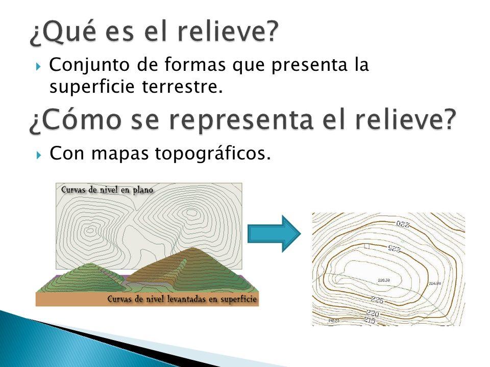 Conjunto de formas que presenta la superficie terrestre. Con mapas topográficos.