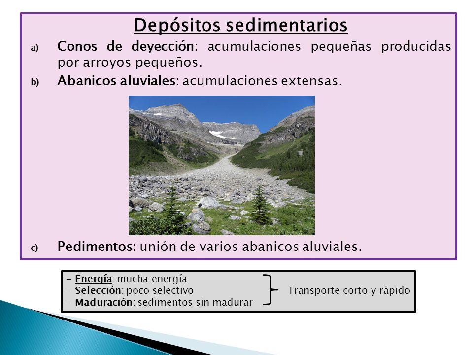 Depósitos sedimentarios a) Conos de deyección: acumulaciones pequeñas producidas por arroyos pequeños. b) Abanicos aluviales: acumulaciones extensas.
