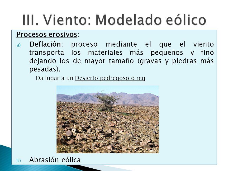 Procesos erosivos: a) Deflación: proceso mediante el que el viento transporta los materiales más pequeños y fino dejando los de mayor tamaño (gravas y