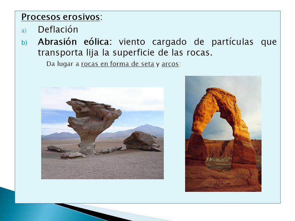 Procesos erosivos: a) Deflación b) Abrasión eólica: viento cargado de partículas que transporta lija la superficie de las rocas. Da lugar a rocas en f