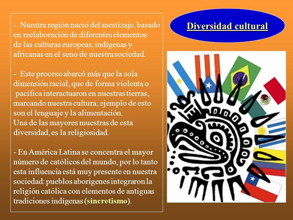 Diversidad cultural - Nuestra región nació del mestizaje, basado en reelaboración de diferentes elementos de las culturas europeas, indígenas y africa