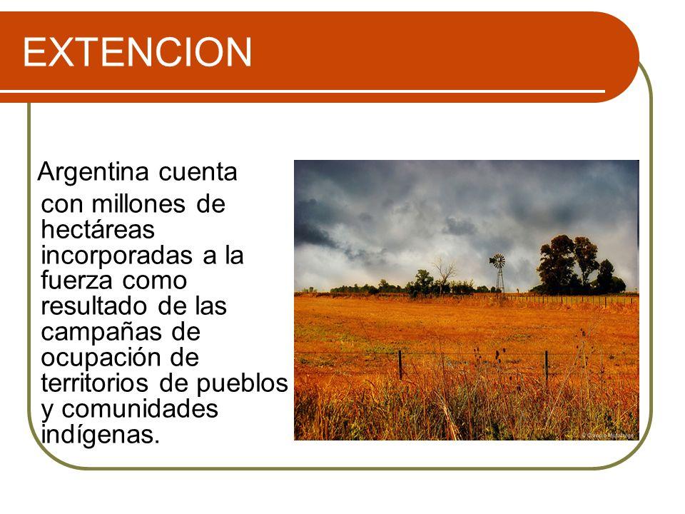 EXTENCION Argentina cuenta con millones de hectáreas incorporadas a la fuerza como resultado de las campañas de ocupación de territorios de pueblos y