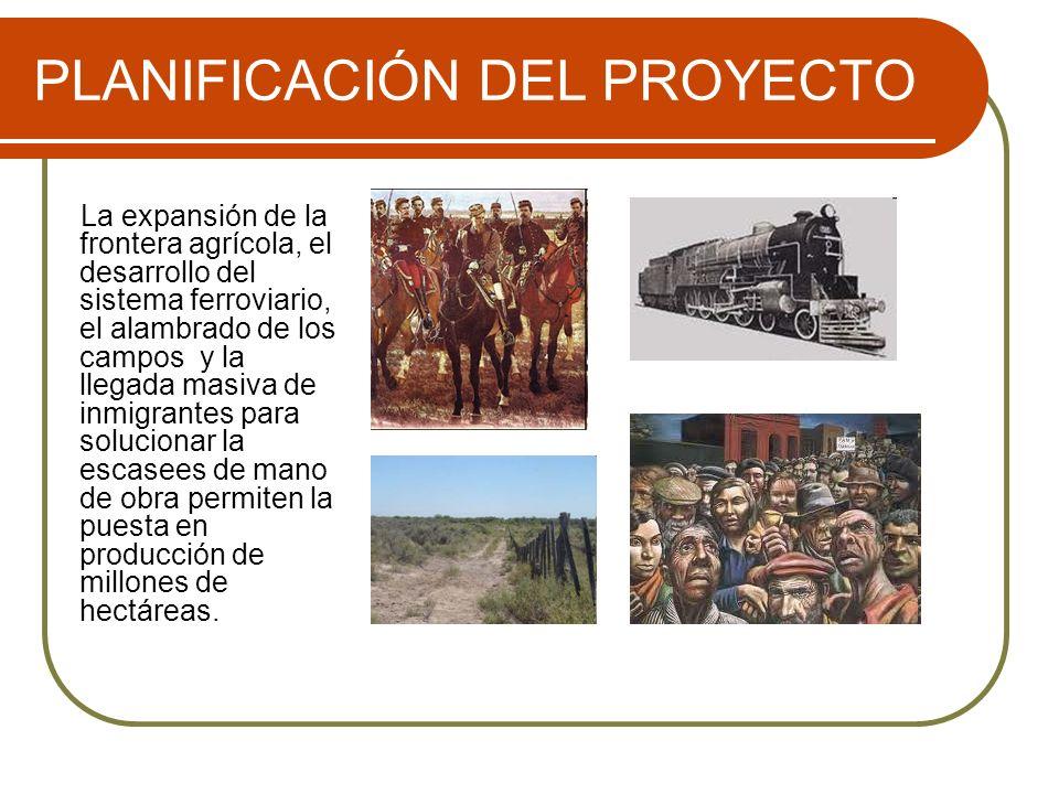 PLANIFICACIÓN DEL PROYECTO La expansión de la frontera agrícola, el desarrollo del sistema ferroviario, el alambrado de los campos y la llegada masiva