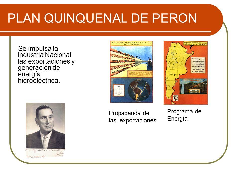 PLAN QUINQUENAL DE PERON Se impulsa la industria Nacional las exportaciones y generación de energía hidroeléctrica. Programa de Energía Propaganda de