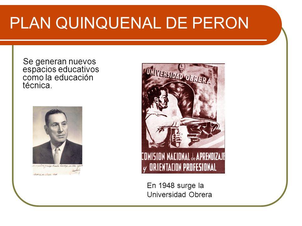 PLAN QUINQUENAL DE PERON Se generan nuevos espacios educativos como la educación técnica. En 1948 surge la Universidad Obrera