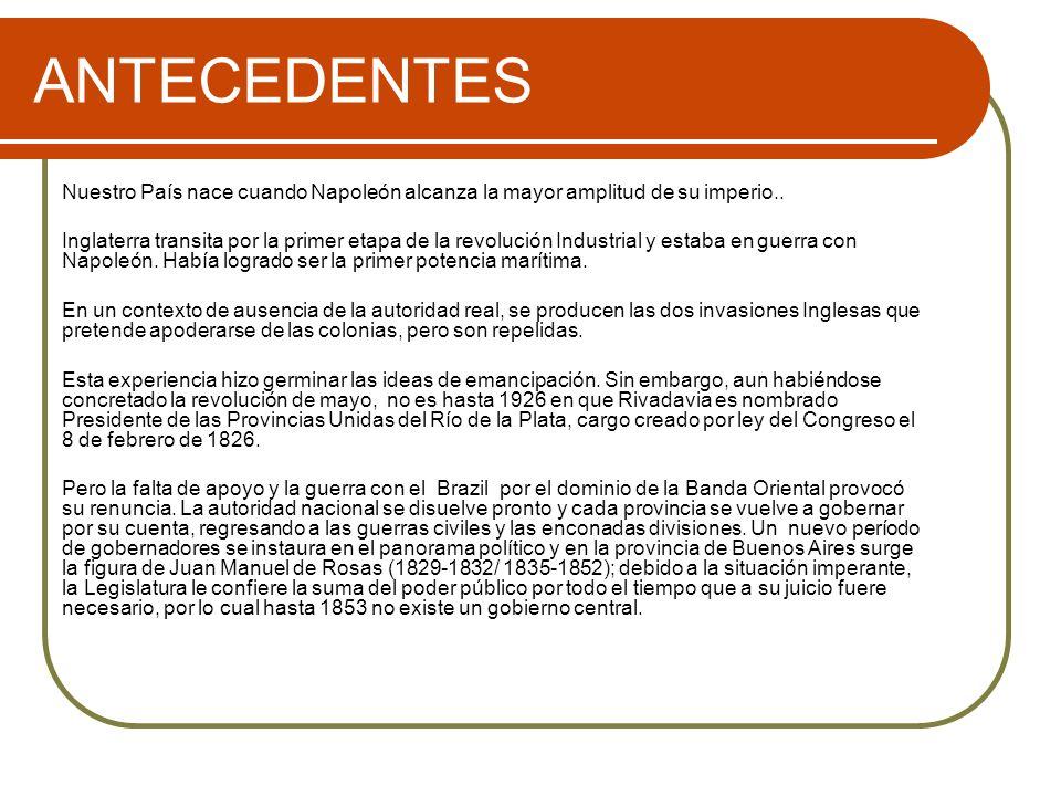 ANTECEDENTES Las provincias celebran a lo largo de treinta años una serie de pactos o acuerdos estableciendo alianzas temporarias: Tratados del Pilar, de Benegas, del Cuadrilátero y el Pacto Federal.